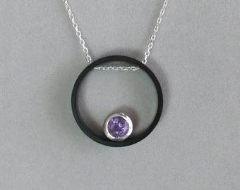 Round necklace gunmetal, silver and Amethyst chain
