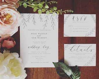Vine detail Invitation Suite