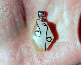 Crackle rock crystal pendant - gemstone.