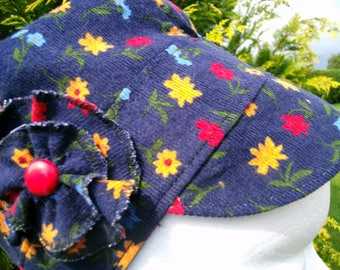 Navy Blue corduroy Cap with red yellow flowers
