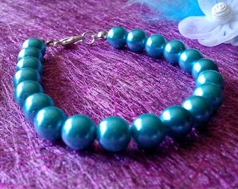 blue green pearl bracelet