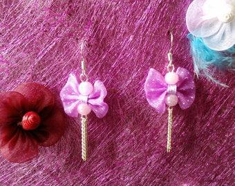 Earrings fuchsia bow