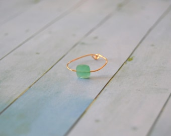 GOLD plated and light green Zirconium ring