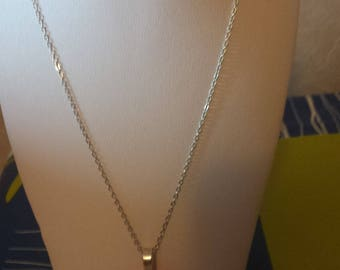 thin chain with flower polymer pendentie more ring silver
