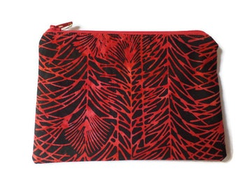 Zippered Cosmetic Bag, Makeup Pouch, Toiletries Purse, Pencil Case, in Red and Black Batik Leaves Fabric, Fully Lined
