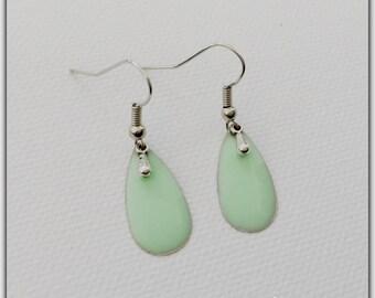 Sequin green enamel earrings, mint, trendy