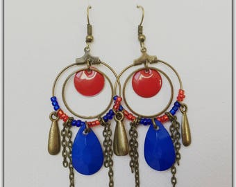 Earrings Creole bronze beads sequins red and blue
