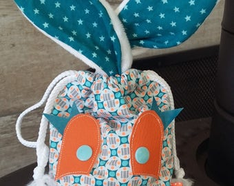 Pouch / bag child with bunny ears. fully lined