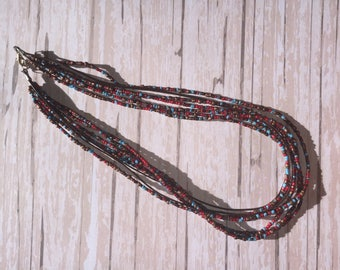 Red, blue, brown beaded and leather necklace, leather necklace, beaded necklace, neutral colors, neutral necklace