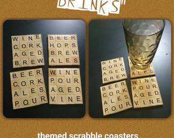 "Scrabble tile coaster set ""Drinks"" theme."