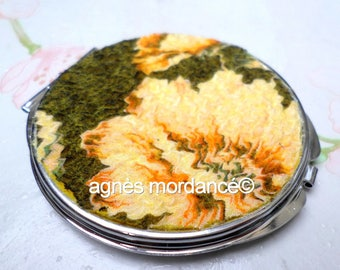 Felted silk Pocket mirror - double metal - felted silk - OOAK