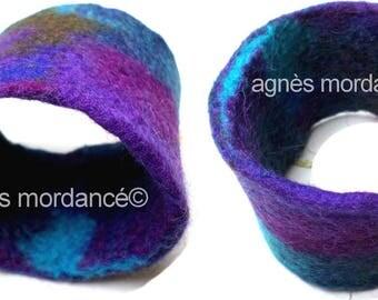 """The daughter of the wind"" Cuff Bracelet - Large - Merino Wool felt - unique"