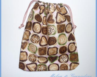 Small fabric bag Organizer - chocolate theme - 23 x 20 cm