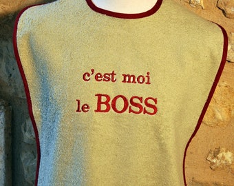 ADULT BEIGE TERRY BIB THAT OF ME THE BOSS WITH NAME