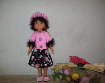 clothes for dolls 32 33 cm, with printed cotton, with jacket or sweater, beanie babies: skirt