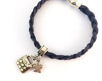 Grey suede bracelet and charms