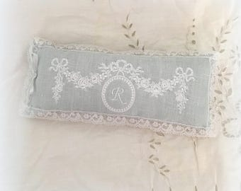 Embroidered and scented with rose scent Victorian cushion