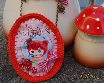 "Textile necklace ""cute girl"""