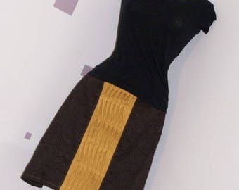 Skirt pleats and tucks mustard