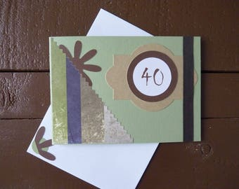Green and Brown 40 birthday card