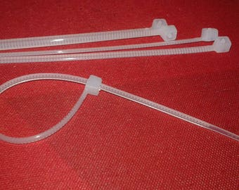 100 white plastic links for sachet or compositions 11 cm ties