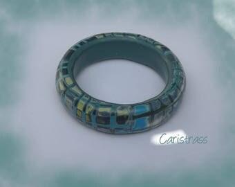 Bracelet round blue Madras.