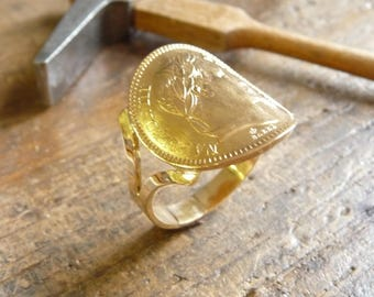 Ring piece gold 20 Francs Napoleon Maggie head large fork