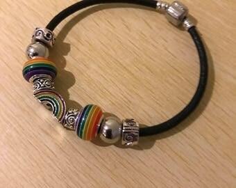 Gay Pride Rainbow Charm Striped Leather Bracelet