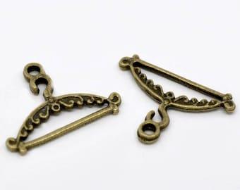 set of 2 pendants hanger Bronze 24x17mm