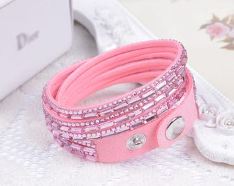 Pink 1 bracelet MULTISTRAND rhinestone colours within 15 days