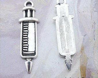 5 charm syringe Antique silver 30 x 9 mm