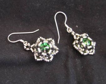 Green Rivoli crystal earrings