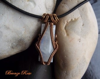 Handmade OOAK wire wrapped rainbow moonstone necklace