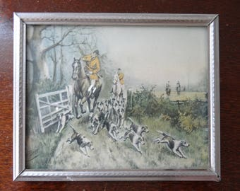 Vintage Fox Hunting Small Picture FREE SHIPPING!