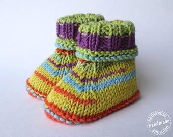 Chaussons multicolores en coton peigné