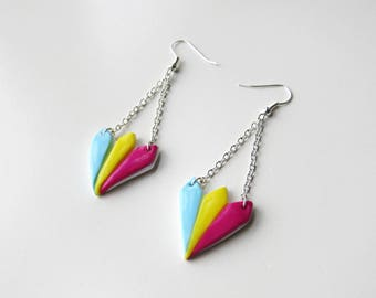Silver polymer clay multicolor fan dangle earrings