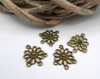 3 connectors/chandeliers flowers 4 holes in metal bronze