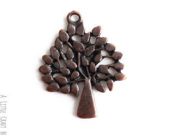 """3 charms """"tree 2"""" - copper"""