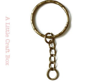 "5 keychain ""round"" with chain rings - bronze"