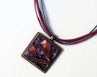 Pink Purple metal square pendant necklace bronze mosaic