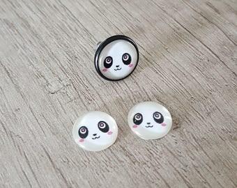 2 glass cabochons 12mm black and white panda