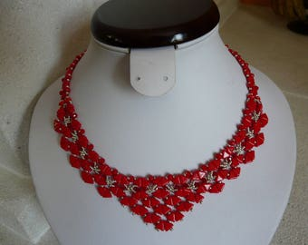 NECKLACE WOVEN PASSION red and silver