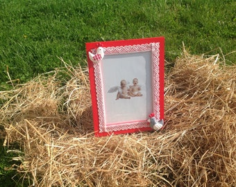 Chickens... Red and white photo frame