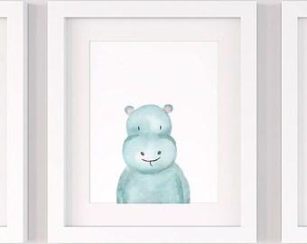Hippo nursery print, PRINTABLE nursery wall art P134