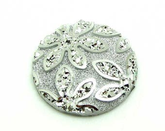 1 cabochon 25 mm round resin flower glittery silver AB - 25 mm