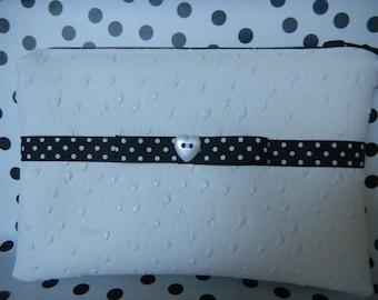 """Flat clutch """"Mimi"""" black and white polka dot"""