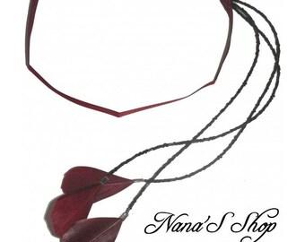 Burgundy headband, feather jewelry