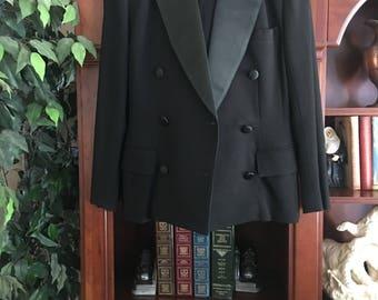 Ports International 1980's/1990's Black Wool Size 10 Two-Piece Women's Suit