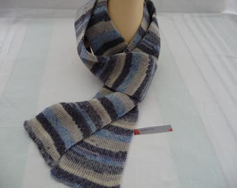 shades of blue gray wool scarf
