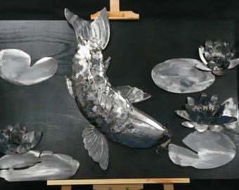 Metal Koi Carp with Lilys wall sculpture